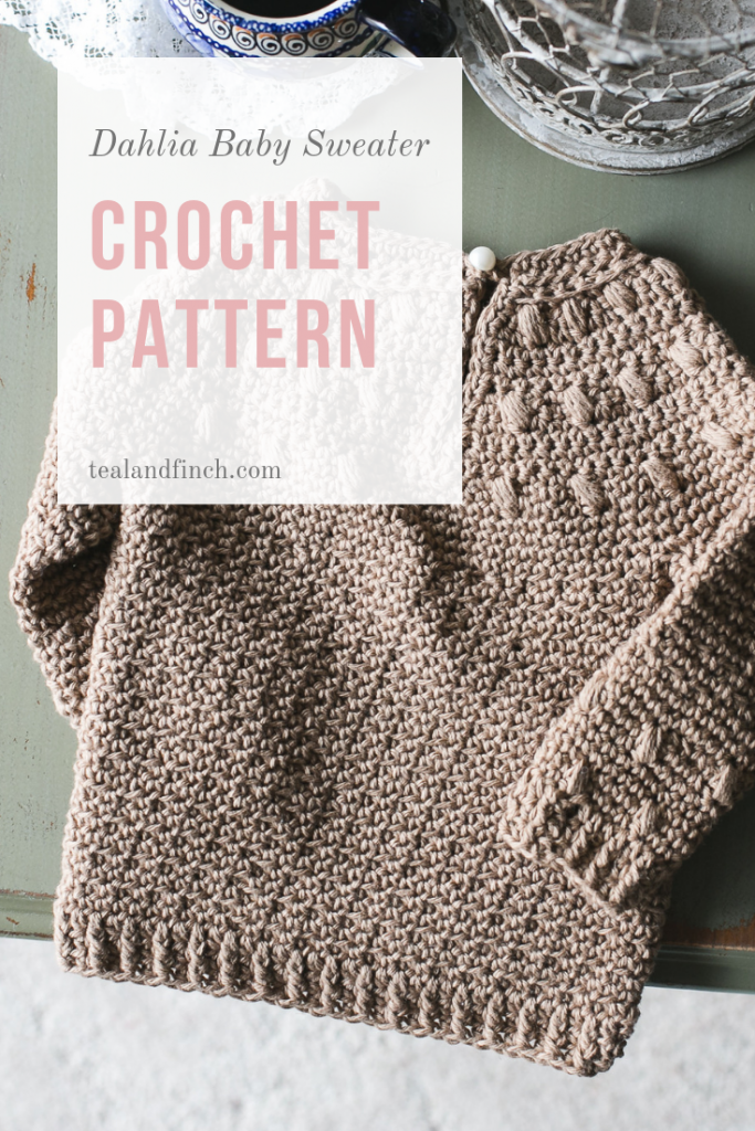 Dahlia baby sweater crochet pattern by Teal & Finch