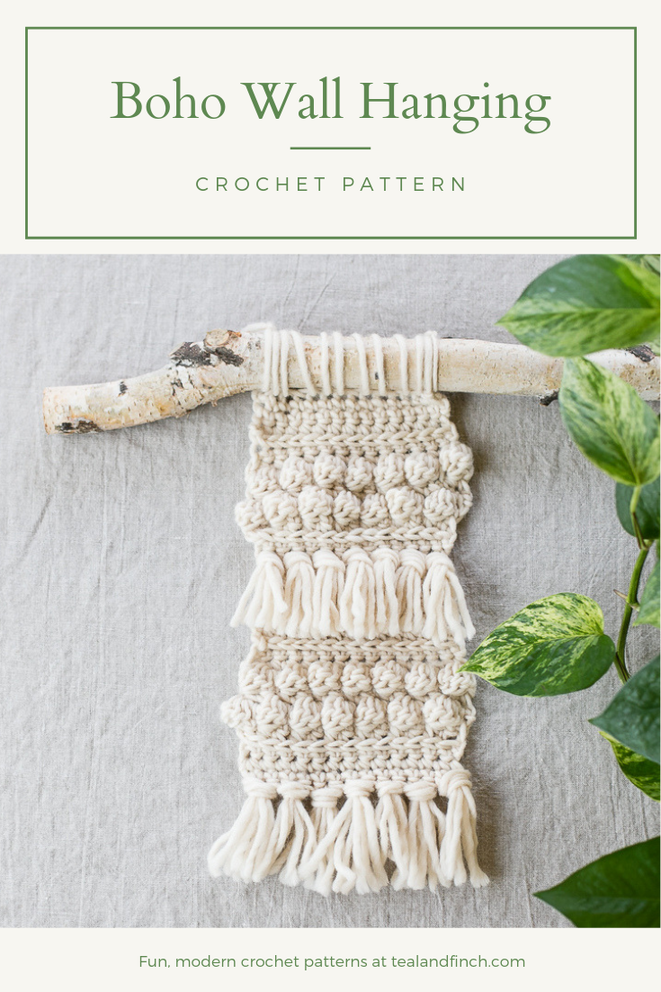 A boho wall hanging crochet pattern for home or dorm.