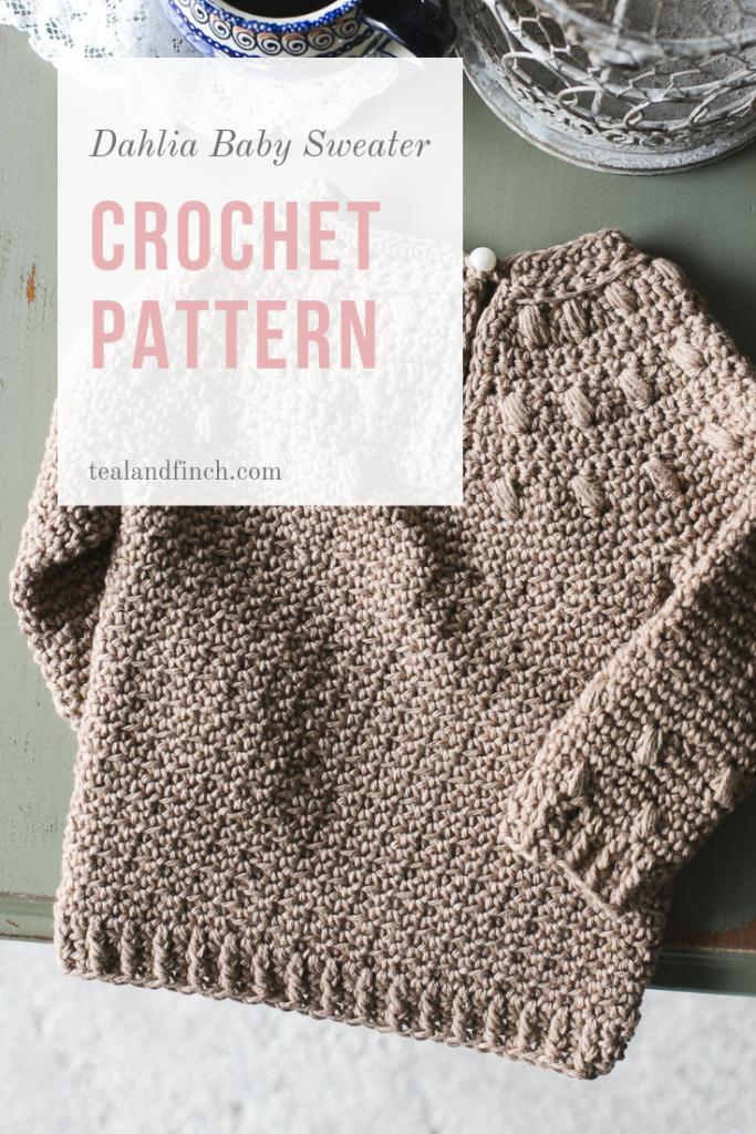 Dahlia baby sweater crochet pattern by Teal & Finch