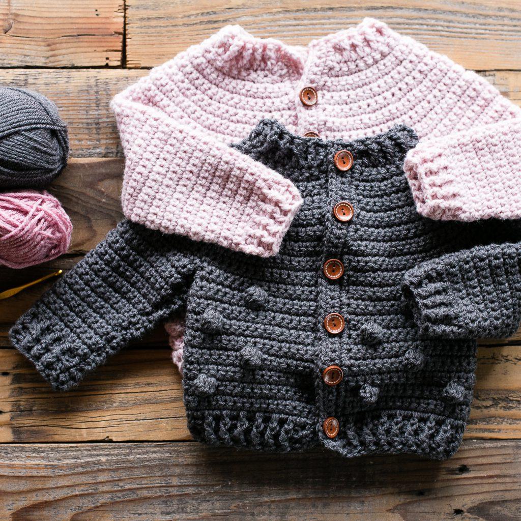 Bobble Baby Cardigan Crochet Pattern Teal Finch