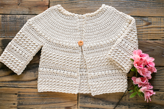 Textured baby and toddler sweater crochet pattern.