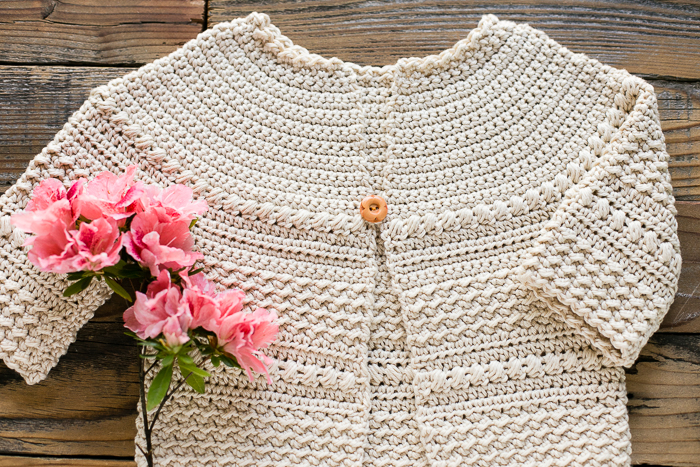 Close up of free crochet sweater pattern.