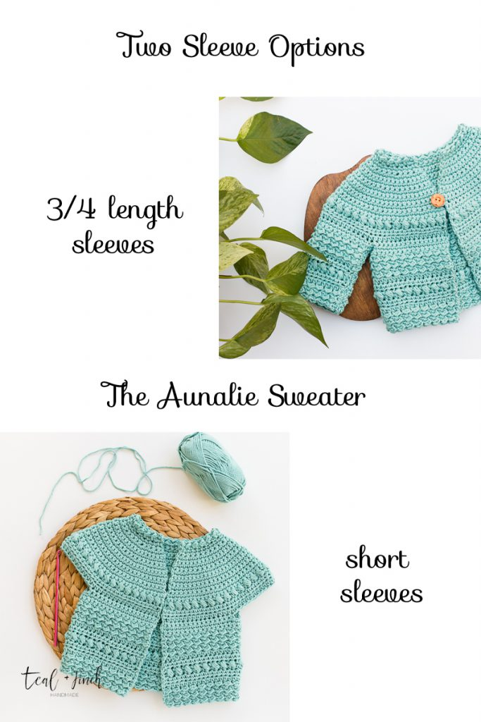 The Aunalie sweater can be made in short sleeve or 3/4 length sleeves.