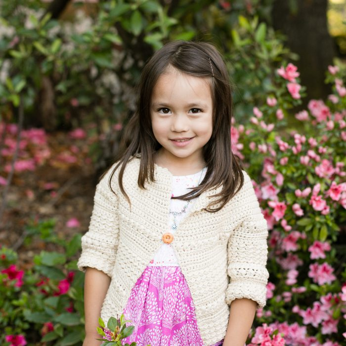 Four year old wearing the Aunalie crochet sweater.