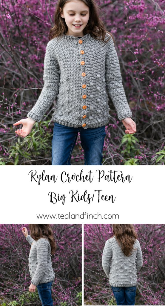 Rylan cardigan for big kids and teen