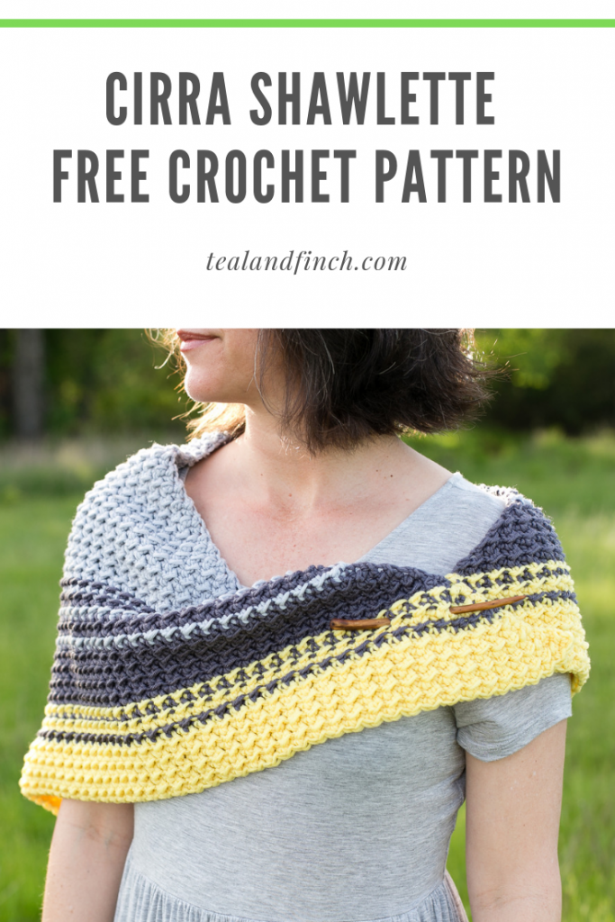 The Cirra Shawlette is a free crochet pattern that features three colors and an easy to remember stitch pattern.