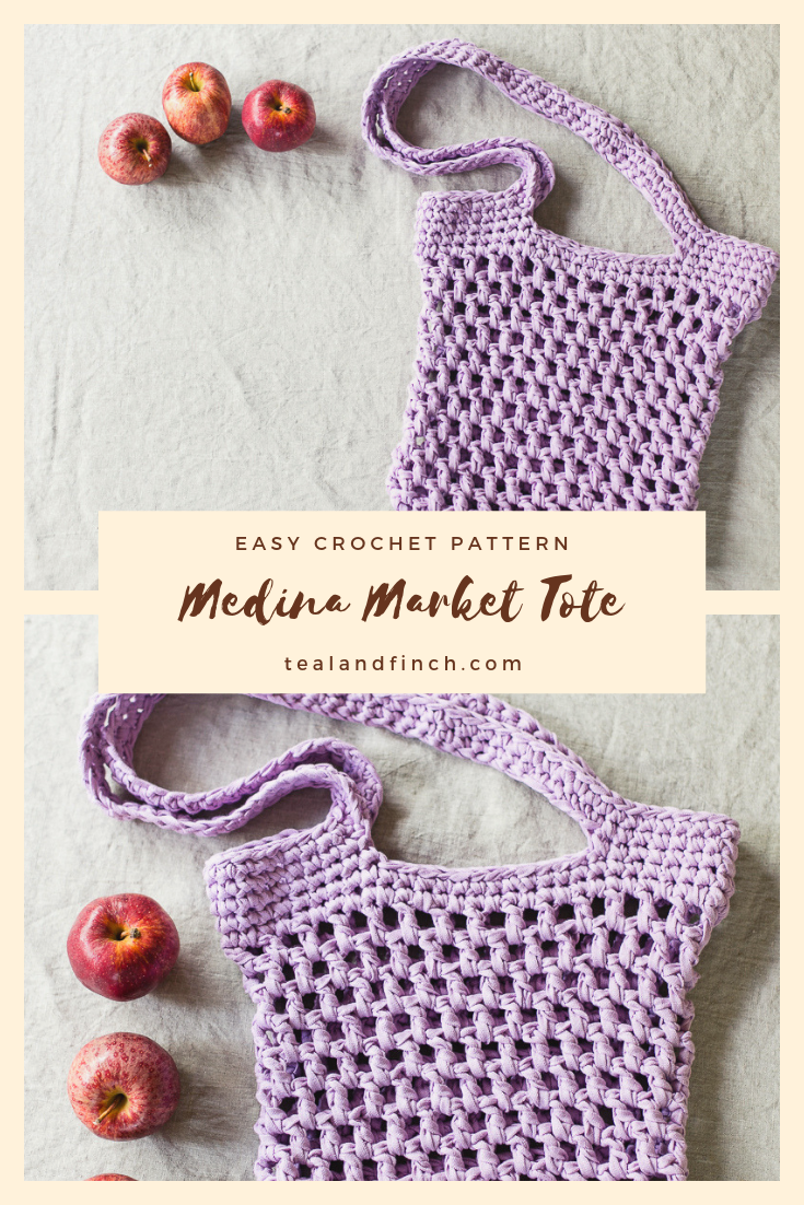 An easy market tote crochet pattern using ribbon yarn.