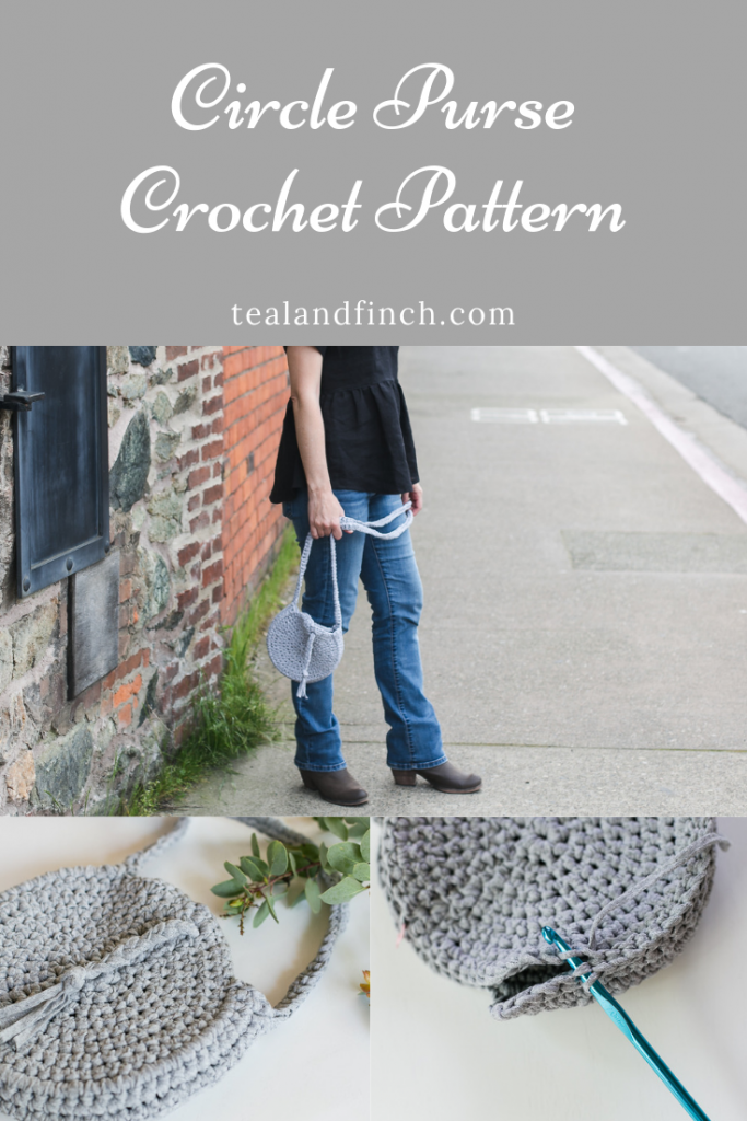 Circle purse crochet pattern with long strap made from fabric yarn.