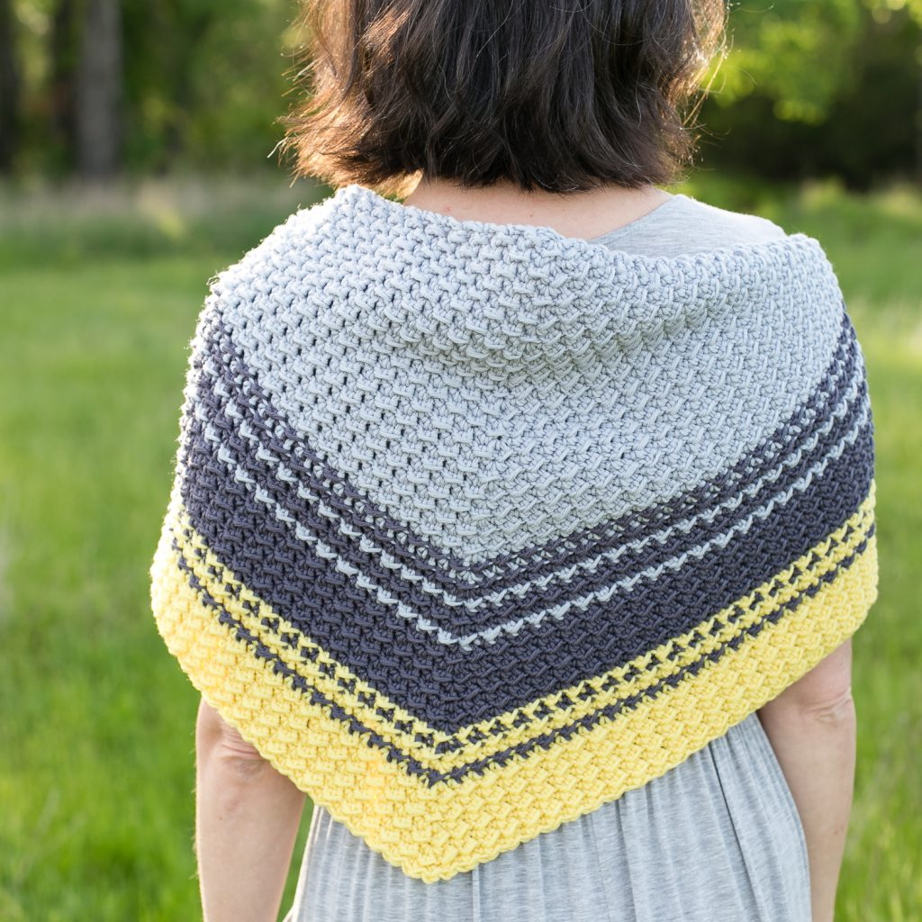 Back view of the Cirra Shawlette crochet pattern.