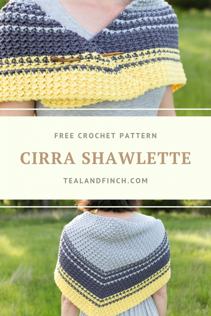 The Cirra Shawlette crochet pattern by Teal and Finch.
