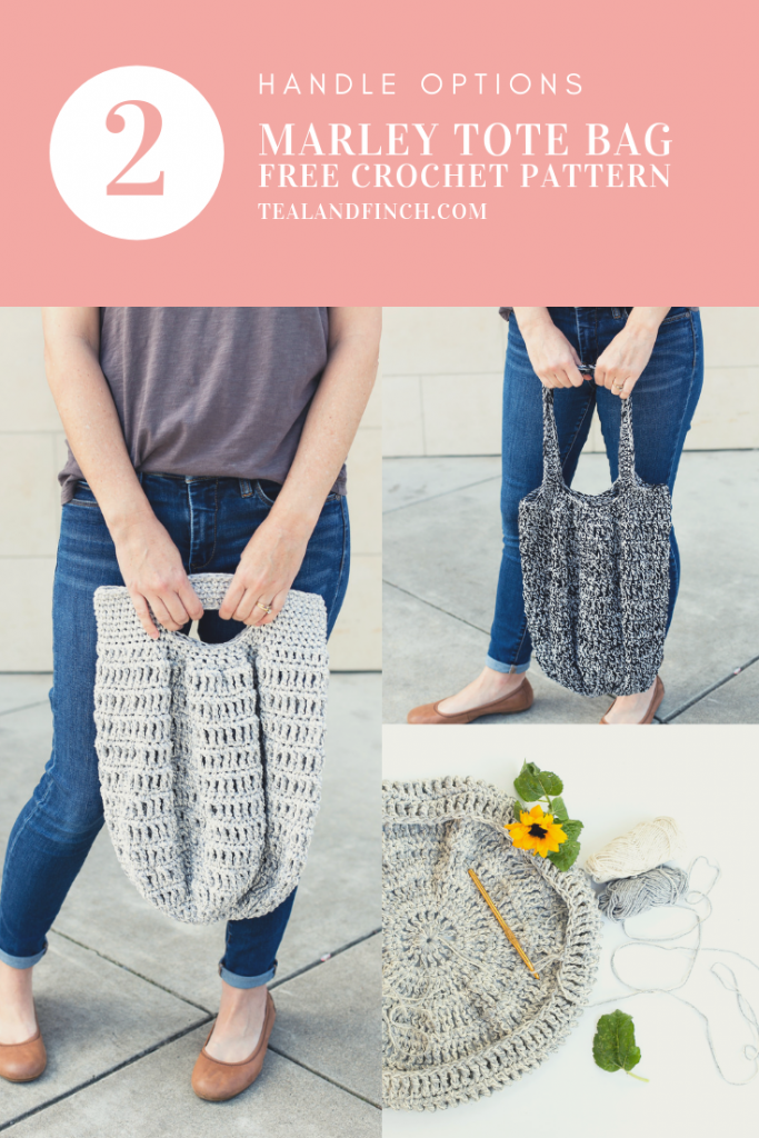 The Marley tote bag is a free crochet pattern with two handle options.