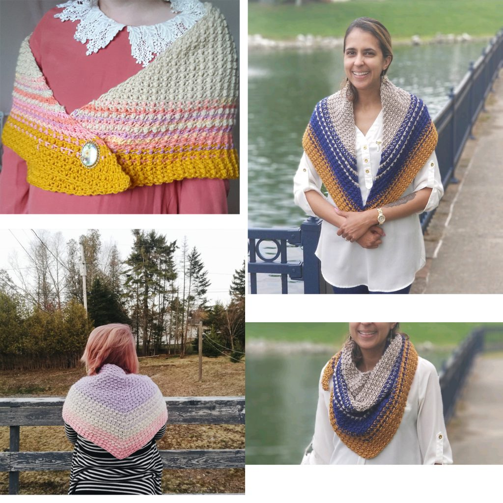 Tester photos of the Cirra Shawlette crochet pattern.