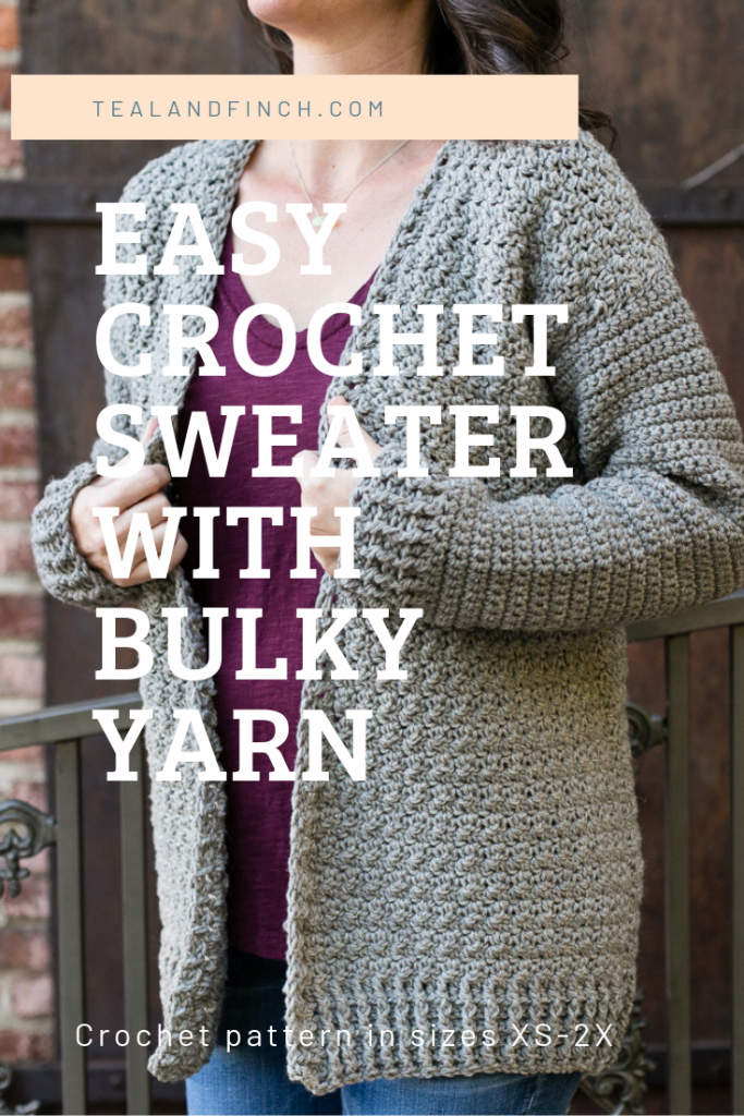 Easy crochet cardigan sweater made with bulky wool yarn. Pattern in women's sizes XS-2X.