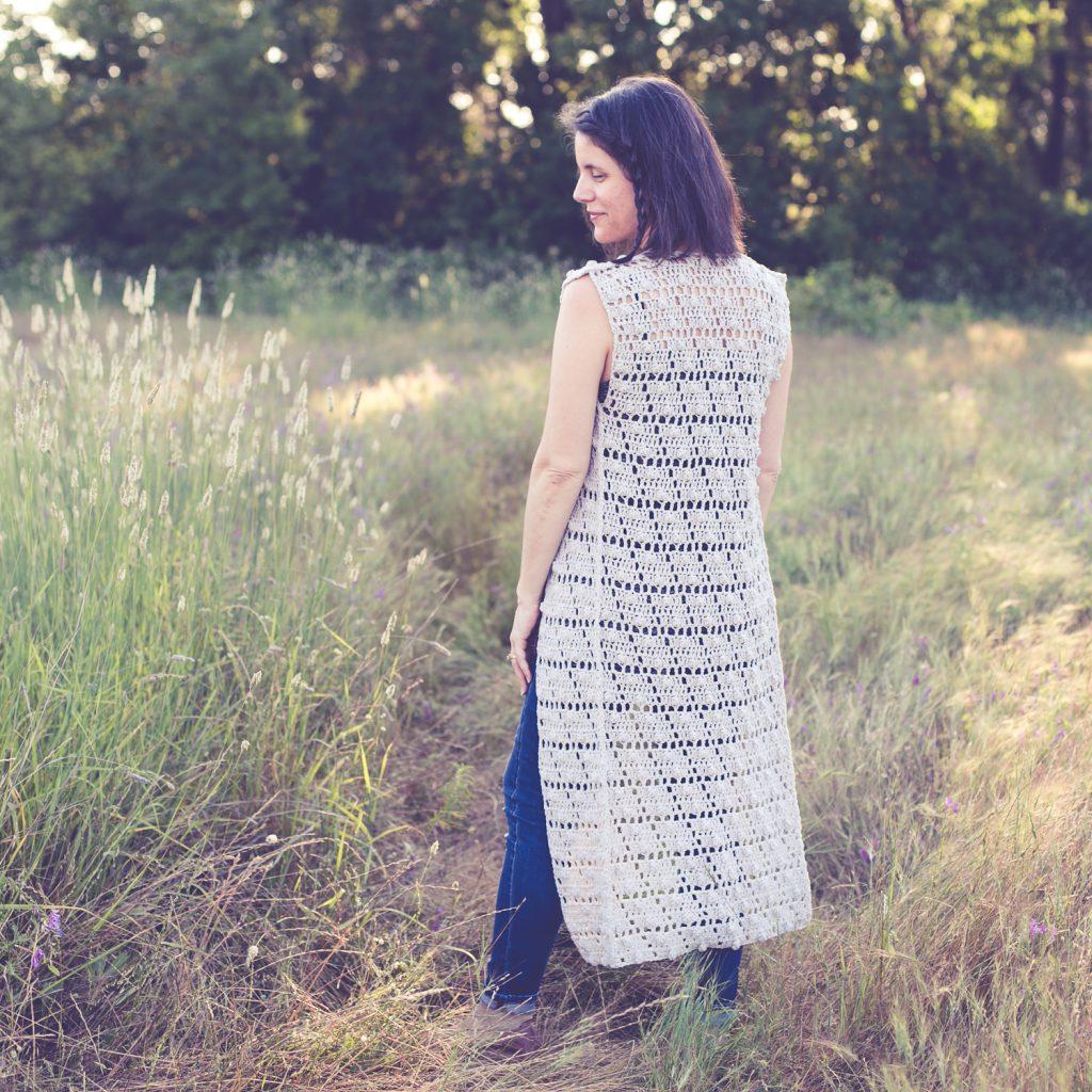Easy long vest crochet pattern.