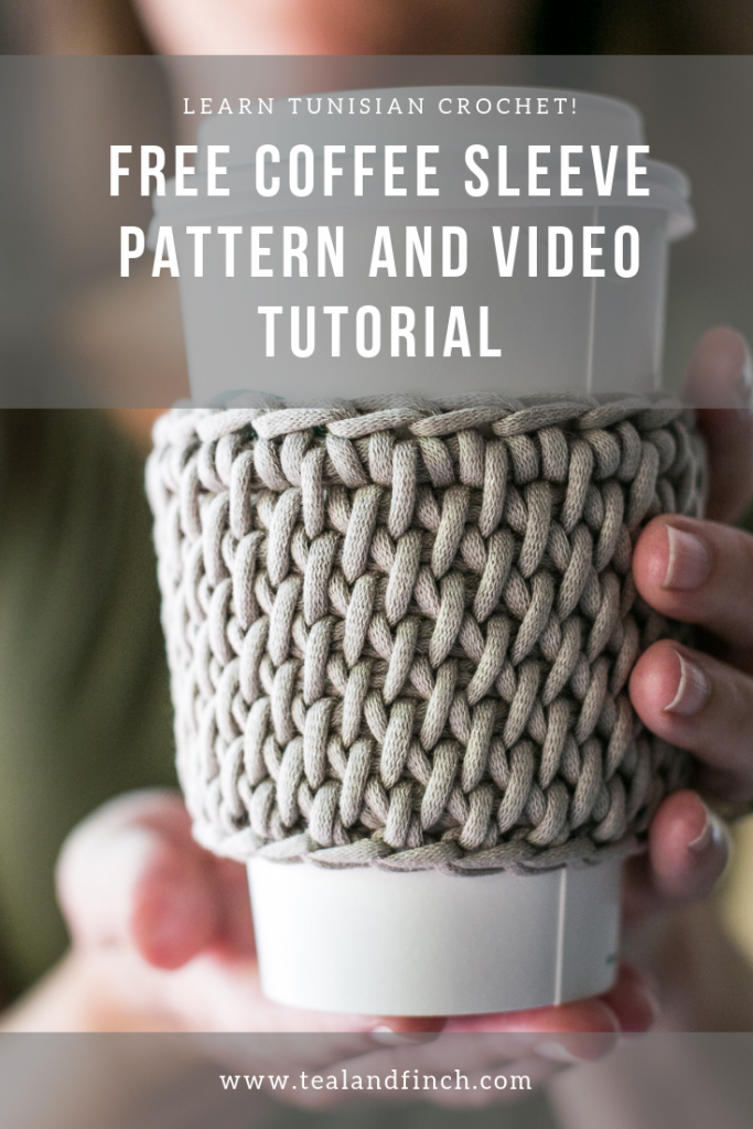 Tunisian full stitch coffee sleeve and cozy tutorial and free pattern.