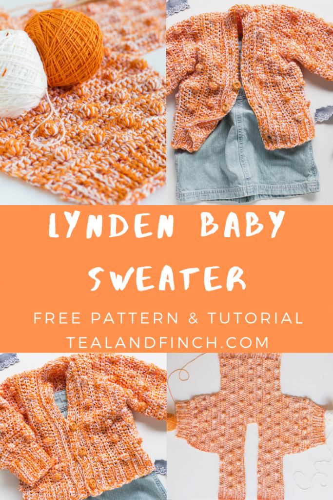 Baby sweater crocheted sideways with merino wool yarn.