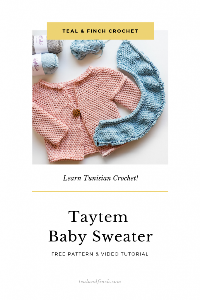Learn Tunisian crochet with an easy baby sweater pattern.