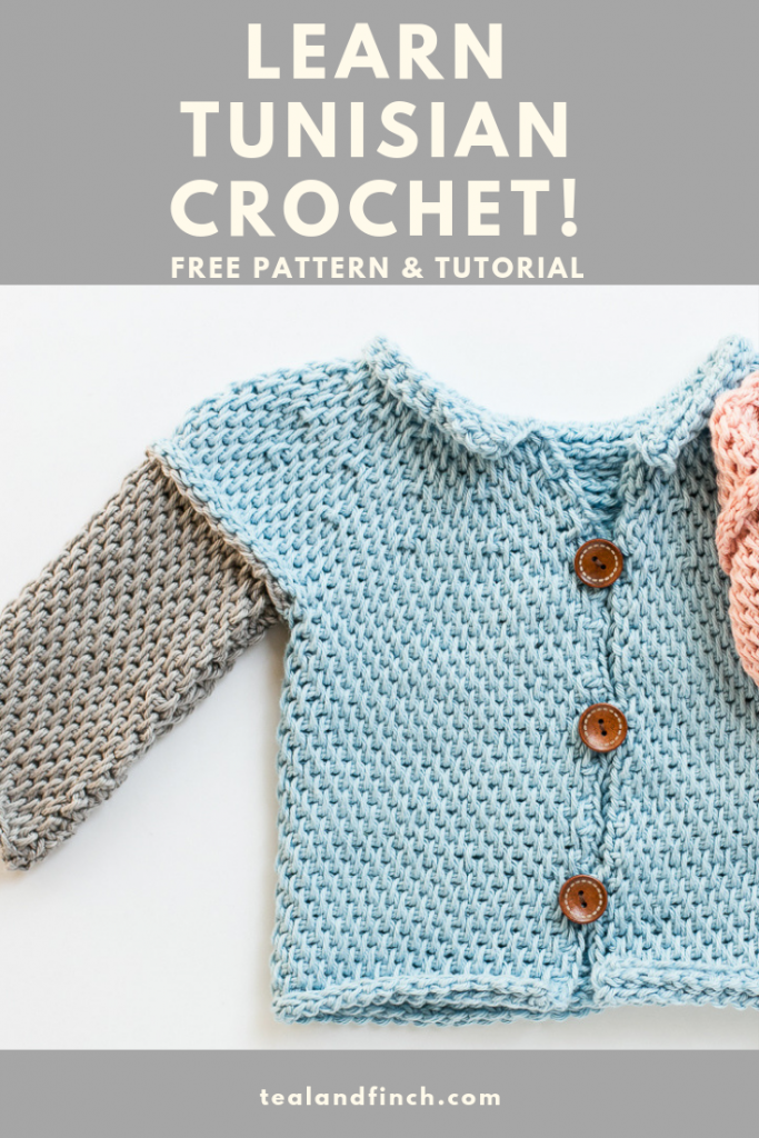 Tunisian crochet sweater pattern for baby boys.